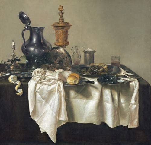 tableaux-nature-morte - Tableau -Banquet Piece with Mince Pie, 1635- - Heda, Willem Claesz