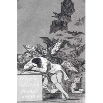 Tableaux cartes du monde, dessins - Tableau -El sueño de la razon produce monstruos_(N_43), de Los Caprichos - Goya y Lucientes, Francisco de