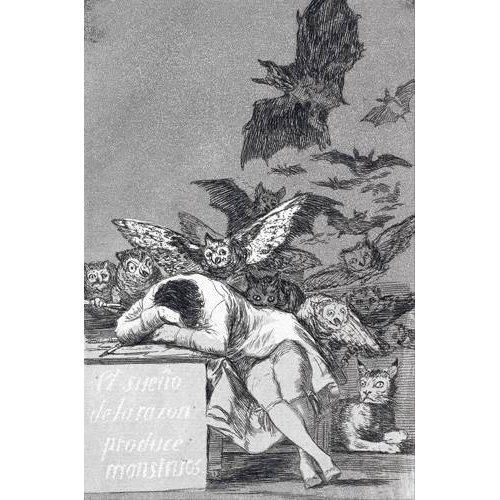 imagens de mapas, gravuras e aquarelas - Quadro -El sueño de la razon produce monstruos_(N_43), de Los Caprichos