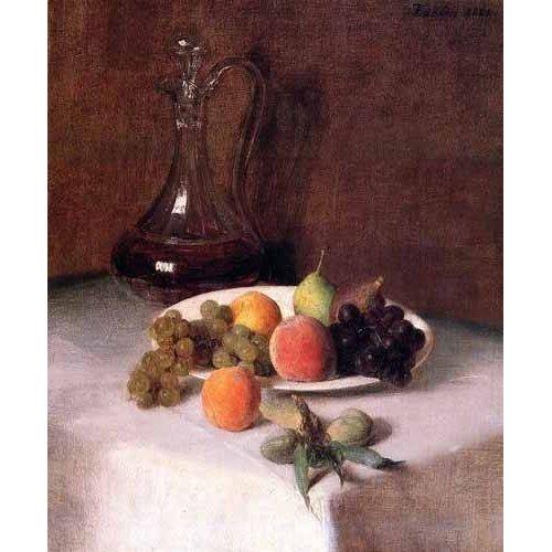 Tableau -Jarra de vino y plato de frutas sobre mantel blanco-