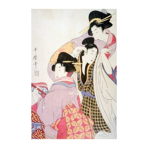 imagens étnicas e leste - Quadro -Two Geishas and a Tipsy Client-
