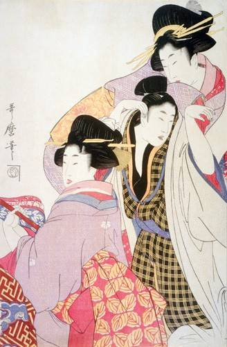 tableaux-orientales - Tableau -Two Geishas and a Tipsy Client- geisha - Utamaro, Kitagawa