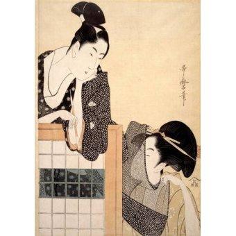 Tableaux orientales - Tableau -Couple with a Standing Screen- geisha - Utamaro, Kitagawa