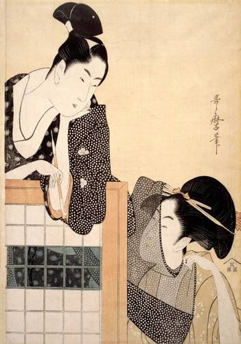 tableaux-orientales - Tableau -Couple with a Standing Screen- geisha - Utamaro, Kitagawa