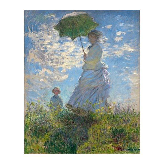 pinturas do retrato - Quadro -Woman with a Parasol - Madame Monet and Her Son, 1875-
