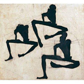 Tableaux modernes - Tableau -Abstrait _ Composition de trois personnages masculins nus, 1910- - Schiele, Egon