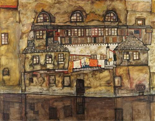 tableaux-de-paysages - Tableau -House Wall on the River, 1915- - Schiele, Egon