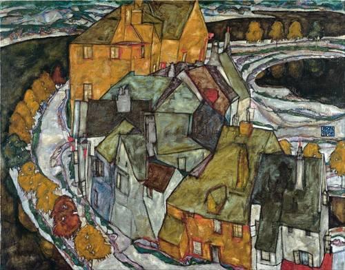 tableaux-de-paysages - Tableau -Crescent of Houses II (Island Town), 1915- - Schiele, Egon