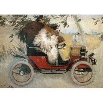 Tableau -Ramon Casas y Pere Romeu en automovil, 1901-