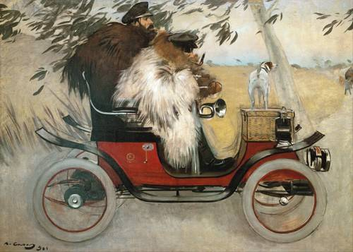 tableaux-de-personnages - Tableau -Ramon Casas y Pere Romeu en automovil, 1901- - Casas i Carbó, Ramón