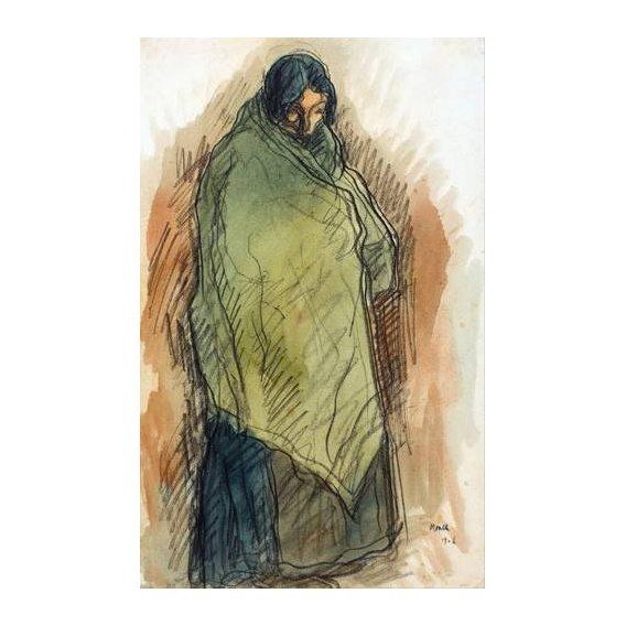 pinturas do retrato - Quadro -Gypsy Standing, 1906-
