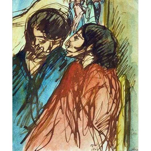 pinturas do retrato - Quadro -Gypsy Couple, 1904-