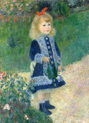 tableaux-de-personnages - Tableau -Une fille avec un arrosoir, 1881- - Renoir, Pierre Auguste
