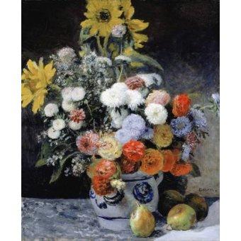 Tableaux de Fleurs - Tableau -Fleurs mélangées dans un pot en argile, 1869- - Renoir, Pierre Auguste