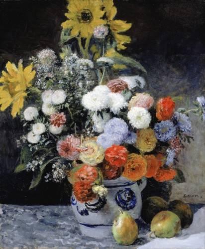 tableaux-de-fleurs - Tableau -Fleurs mélangées dans un pot en argile, 1869- - Renoir, Pierre Auguste
