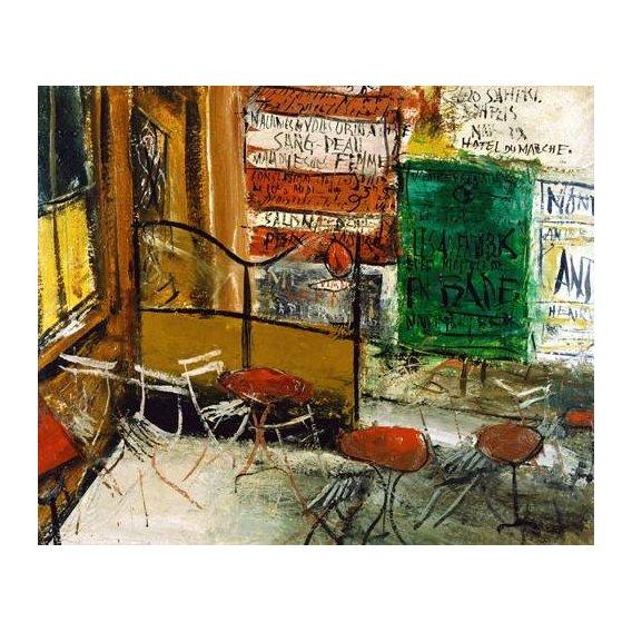 pinturas modernas - Quadro -Café Terrace with Posters-