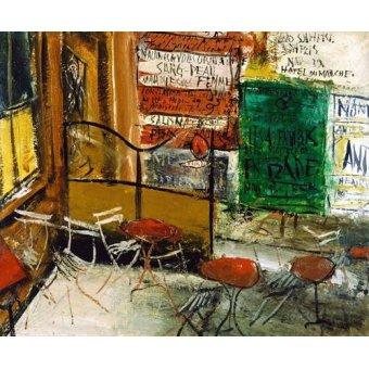 Tableaux modernes - Tableau -Café Terrace with Posters- - Yuzo, Saeki