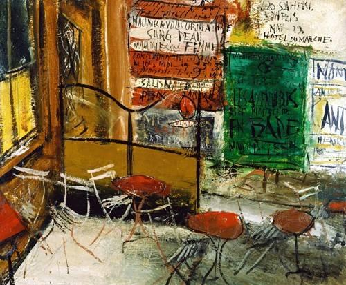 tableaux-modernes - Tableau -Café Terrace with Posters- - Yuzo, Saeki