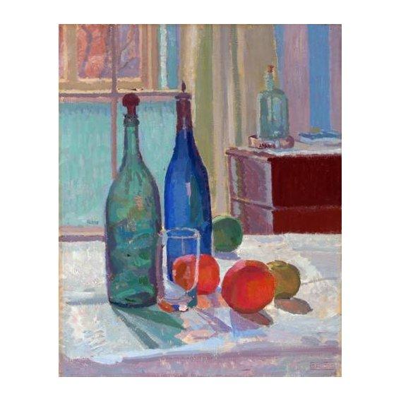 naturezas mortas - Quadro -Blue and Green Bottles and Oranges, 1914-