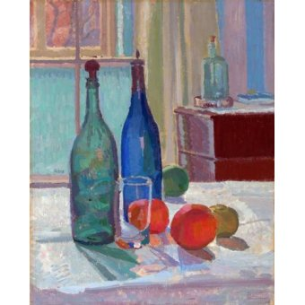 Tableaux nature morte - Tableau -Bouteilles Bleues et Vertes et Oranges, 1914- - Gore, Spencer