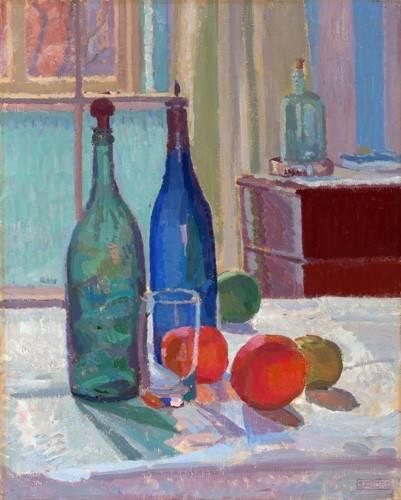 tableaux-nature-morte - Tableau -Bouteilles Bleues et Vertes et Oranges, 1914- - Gore, Spencer