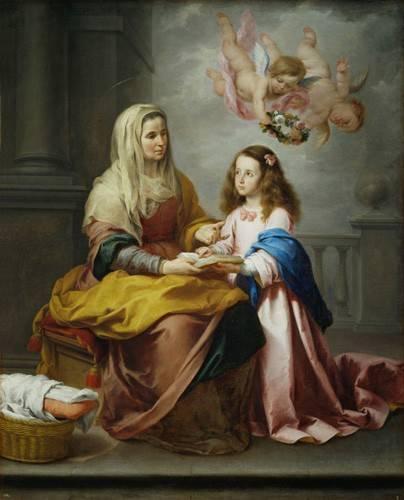 tableaux-religieuses - Tableau -Santa Ana y la Virgen, 1655- - Murillo, Bartolome Esteban