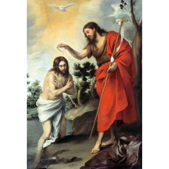 Tableaux religieuses - Tableau -Bautismo de Cristo, 1655- - Murillo, Bartolome Esteban