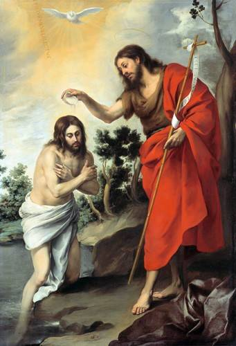 tableaux-religieuses - Tableau -Bautismo de Cristo, 1655- - Murillo, Bartolome Esteban