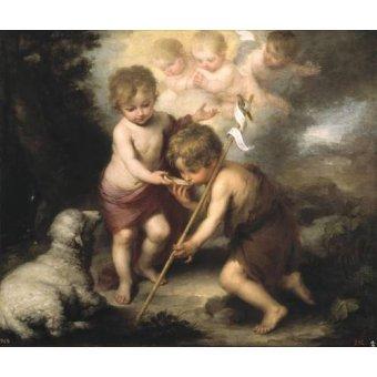 Tableaux religieuses - Tableau -Los niños de la concha- - Murillo, Bartolome Esteban