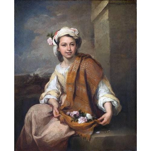 pinturas do retrato - Quadro -La Niña de las Flores, 1670-