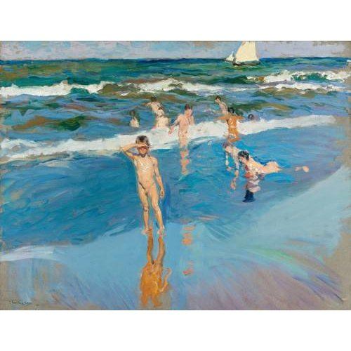 Tableau -Enfants dans la mer, plage de Valence-
