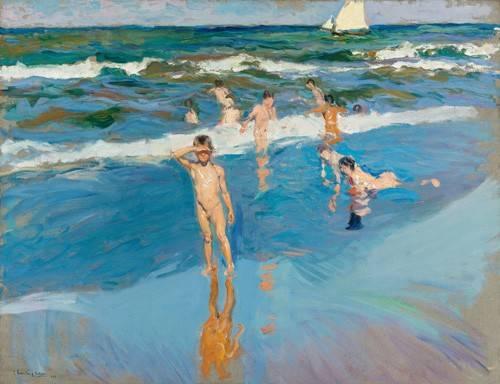 tableaux-de-paysages-marins - Tableau -Enfants dans la mer, plage de Valence- - Sorolla, Joaquin