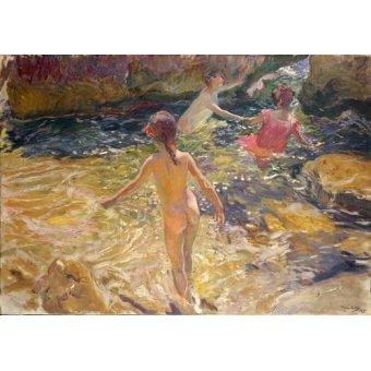 Tableaux de paysages marins - Tableau -Le bain dans la mer, Jávea- - Sorolla, Joaquin