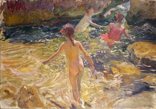 tableaux-de-paysages-marins - Tableau -Le bain dans la mer, Jávea- - Sorolla, Joaquin