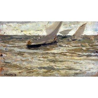 Tableaux de paysages marins - Tableau -Départ des bateaux, Asturies- - Sorolla, Joaquin