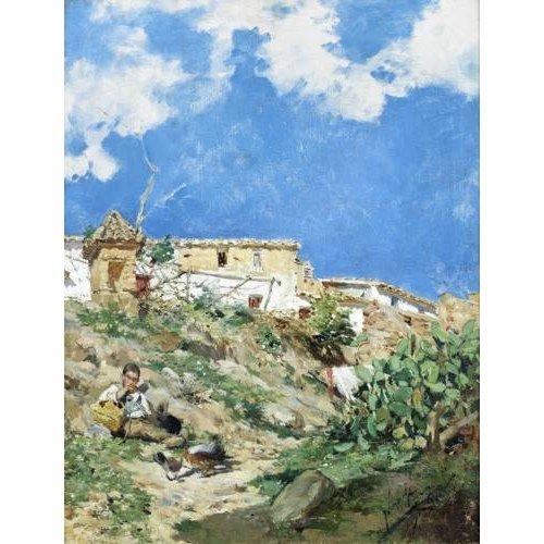 Tableau -Paysage avec figure à Sagunto (Valence)-