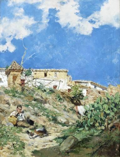 tableaux-de-paysages - Tableau -Paysage avec figure à Sagunto (Valence)- - Sorolla, Joaquin