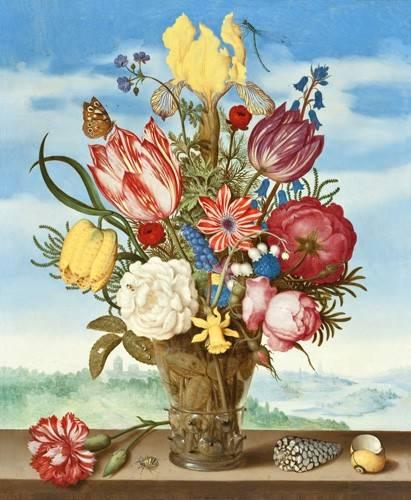 tableaux-de-fleurs - Tableau -Bouquet of Flowers on a Ledge- - Bosschaert, Ambrosius
