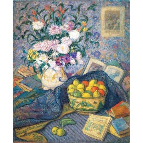 Tableau -Jarron de flores con plátanos, limones y libros, 1917-