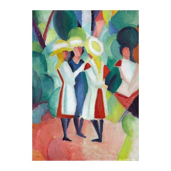 pinturas do retrato - Quadro -Three girls in yellow straw hats, 1913-