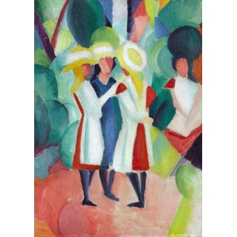 Tableaux pour enfants - Tableau -Three girls in yellow straw hats, 1913- - Macke, August