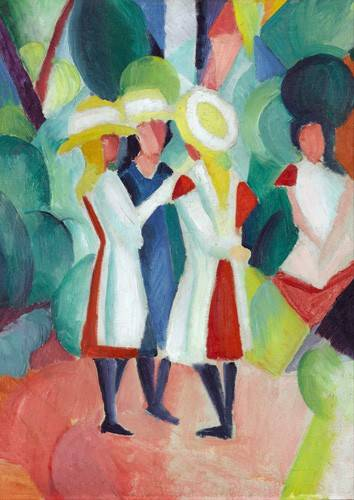 tableaux-de-personnages - Tableau -Three girls in yellow straw hats, 1913- - Macke, August