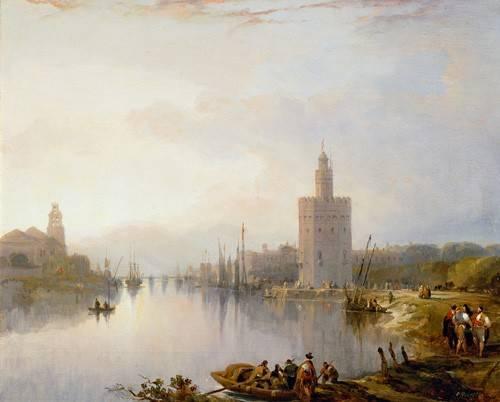 tableaux-de-paysages - Tableau -La Torre del Oro, Sevilla- - Roberts, David