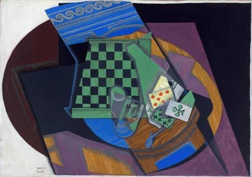 tableaux-abstraits - Tableau -Damier et cartes à jouer, 1919- - Gris, Juan