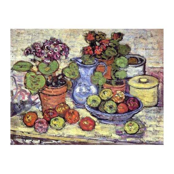 quadros decorativos - Quadro -Bodegón con cinerarias y fruta-