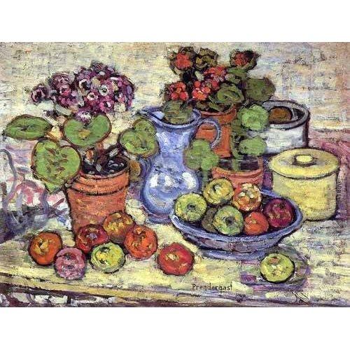 Tableau -Bodegón con cinerarias y fruta-