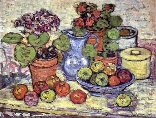 cuadros-decorativos - Tableau -Bodegón con cinerarias y fruta- - Prendergast, Maurice