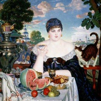 Tableaux de Personnages - Tableau -Merchant's Wife at Tea- - Kustodiev, Boris