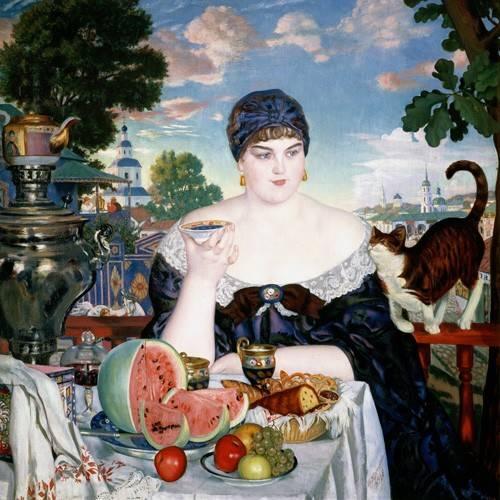tableaux-nature-morte - Tableau -Merchant's Wife at Tea- - Kustodiev, Boris