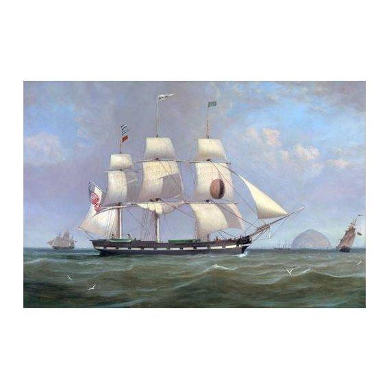 pinturas de paisagens marinhas - Quadro -The Black Ball Line Packet Ship 'New York' off Ailsa Craig, 183